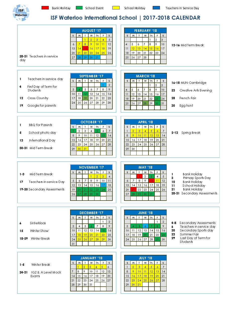 Calendar   17 18