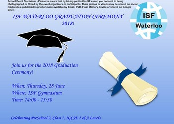 Join us for ISF Waterloo Graduation 2018!