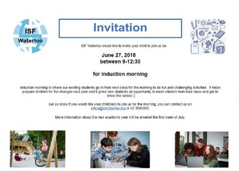 ISF Induction Morning - June 27, 9:00-12:30